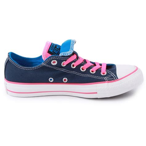 converse  star double tongue womens trainers  blue pink