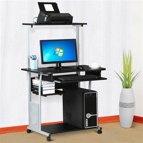 computer desk w printer shelf stand rolling laptop home