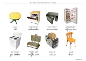 ustensiles de cuisine en anglais ustensiles imagiers ustensiles de cuisine toupty com