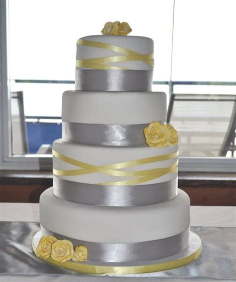 yellow and grey wedding cakes a wedding cake blog grey and yellow ribbon wedding cake cakecentral com