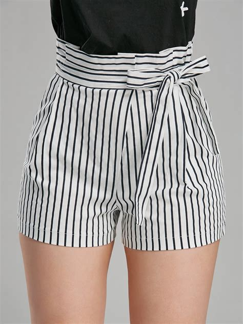 Striped Shorts belted high waisted striped mini shorts stripe m in