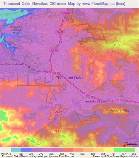 maps thousand oaks elevation of thousand oaks us elevation map topography