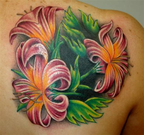 tattoo tropical flower beautiful colorful tropical flowers tattoo on back