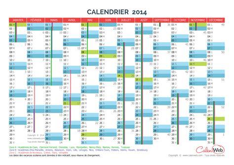 Calendrier Vacances Scolaires 2014 Calendrier Annuel 233 E 2014 Avec Jours F 233 Ri 233 S Et