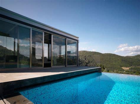 modern home overlooking  bisenzio rivers valley