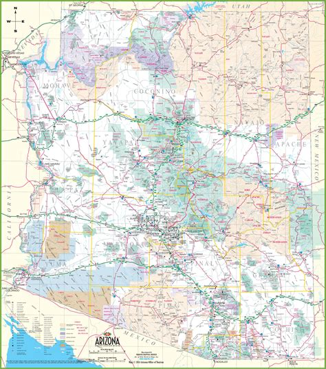state map of arizona with cities large detailed map of arizona with cities and towns