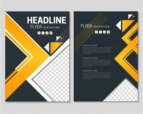 Geometric Flyer Template. Colorful Triangle Brochure Flyer
