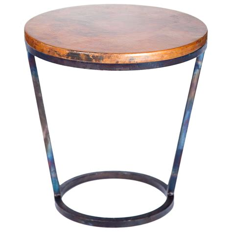 copper accent table ayres iron accent table with hammered copper top