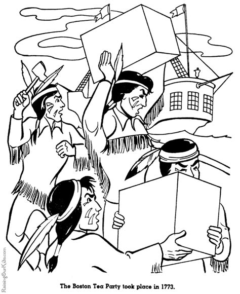 boston tea party history coloring page for kid 019