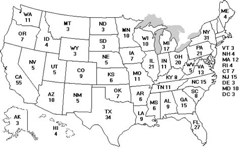 map of us electoral votes the electoral college