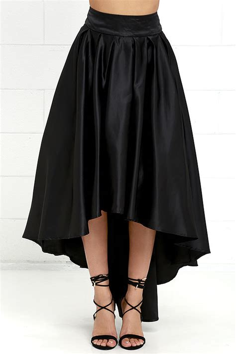 lovely black skirt satin skirt high low skirt 93 00