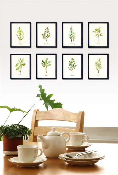 kitchen paintings herb print watercolor painting botanical chart kitchen