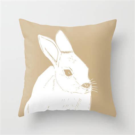 rabbit pillow rabbit illustration pillow neutral pillow