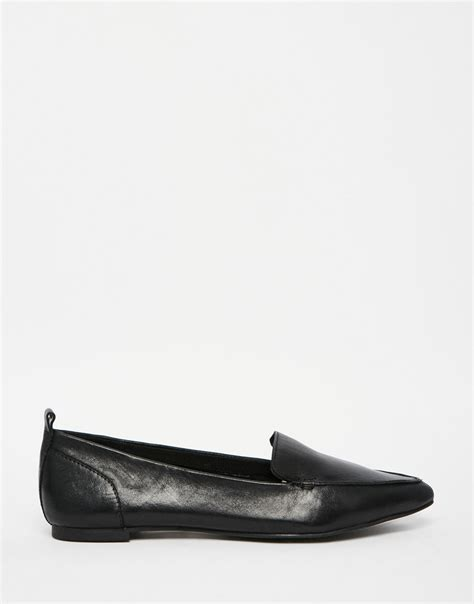 aldo flat shoes aldo bazovica black leather flat ballerina shoes in black