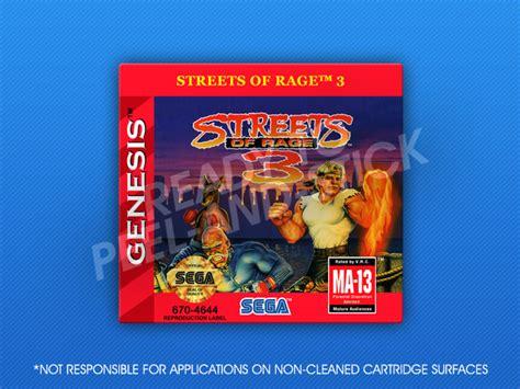 streets of rage 3 genesis sega genesis streets of rage 3 label retro cases
