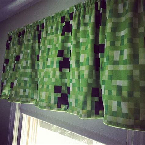 minecraft curtains minecraft creeper curtain valance handmade by me for ben