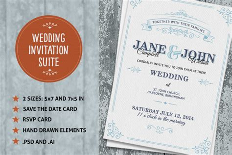 wedding invite suite invitation templates on creative market