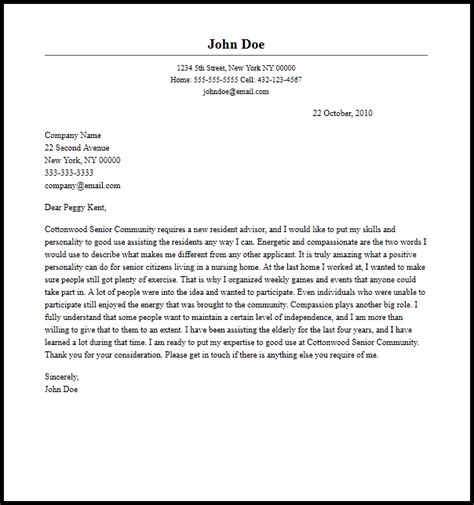 cover letter for resident advisor position 3308