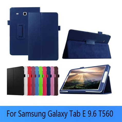 Samsung Tab E 9 6 Inchi T560 Sarung Leather Dompet Casing Flip lichee leather book cover capa para for samsung galaxy tab e t560 t561 9 6 inch tablets books