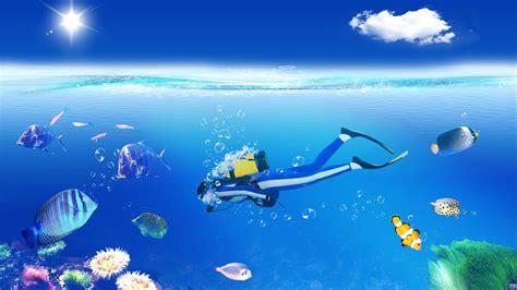 wallpaper underwater cartoon scuba diving wallpaper 168009