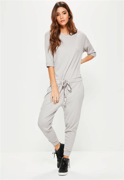 Jumpsuit Greya missguided grey ribbed slouch lounge jumpsuit in gray lyst