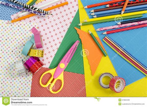 Paper Craft Materials - arts and craft supplies stock photo image 51984449