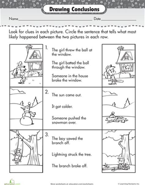 Drawing Conclusion Worksheets by Drawing Conclusions Comprehension And Drawings On