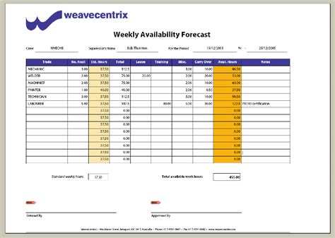 weekly hours sheet calendar template 2016