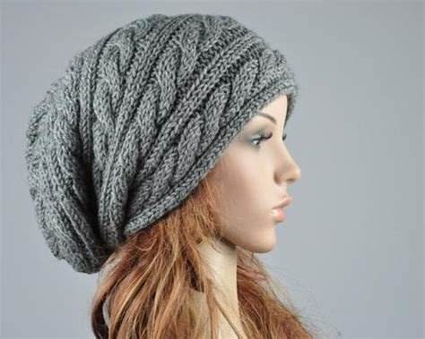 cable knit slouchy hat pattern knit hat charcoal hat slouchy hat cable pattern