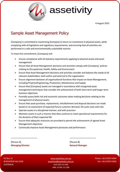 Asset Management Templates Assetivity Asset Management Policy Template