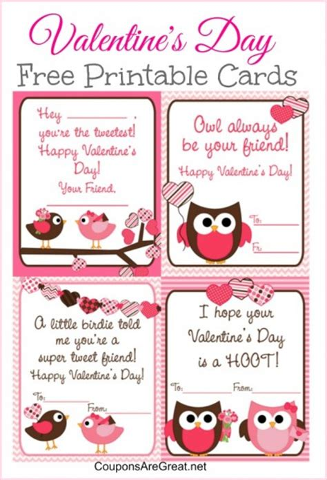 valentines cards for school printable free printable s day cards for with owls