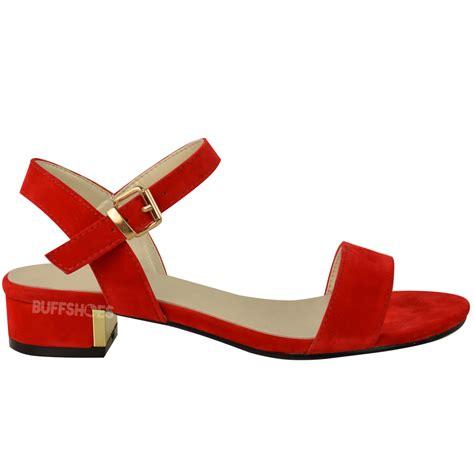 womens strappy sandals flat low block heel summer open toe shoes size new ebay