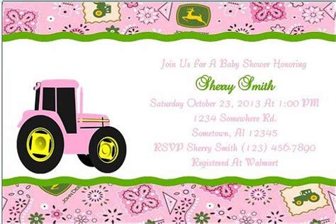 Pink Deere Baby Shower by Deere Pink Tractor Baby Shower Invitation