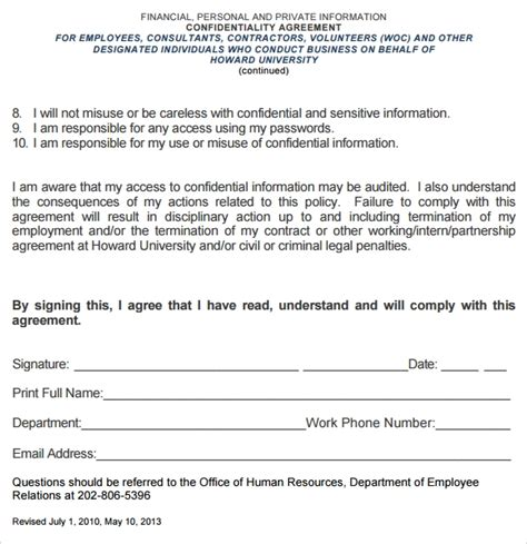 7 Volunteer Confidentiality Agreement Templates Sle Templates Volunteer Service Agreement Template