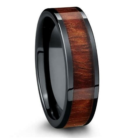 Wood Wedding Band Crafted With Black High Tech Ceramic