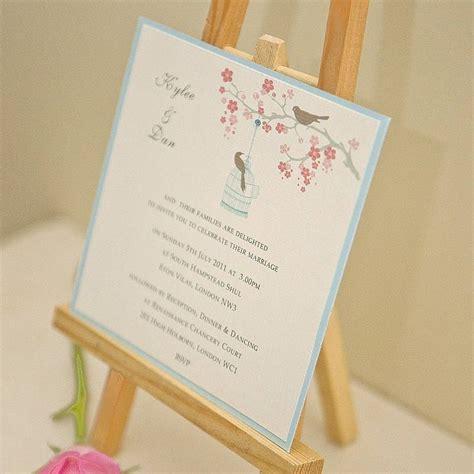 wedding invitations with birds birds personalised wedding invitation by beautiful