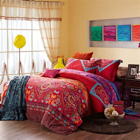 Paisley Duvet Sets Chinese Red And Colorful Vintage Indian Style Tribal Print