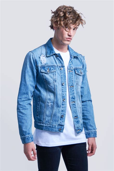 And Denim buy ripped denim jacket blue