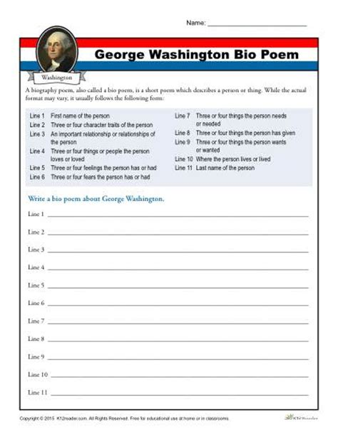 george washington biography for middle school students washington s birthday worksheet activity bio poem