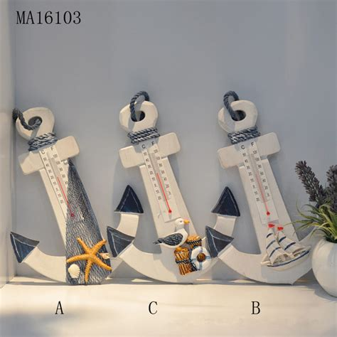 anchor home decor wood handicrafts anchor thermometer mediterranean style
