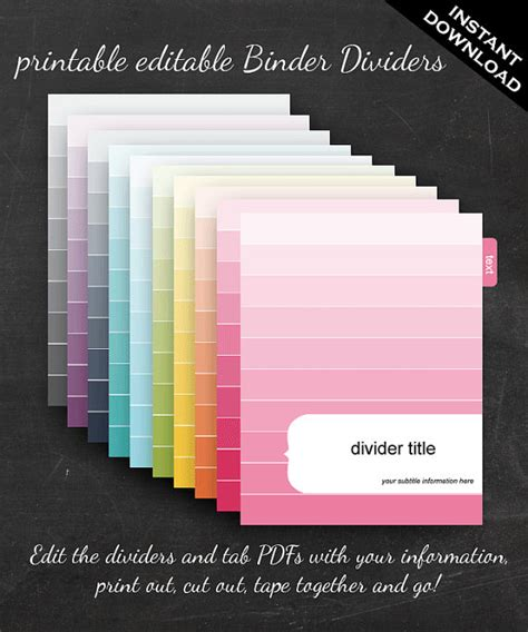9 best images of printable dividers for binders