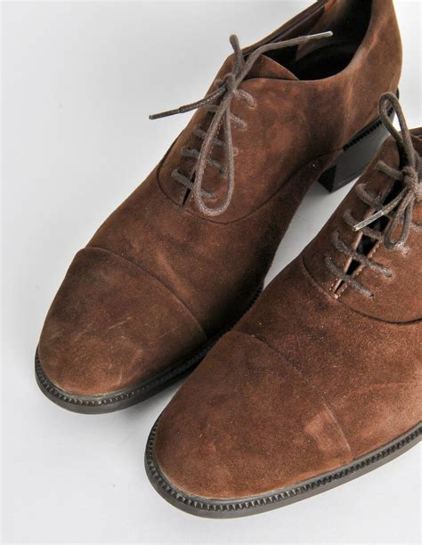 ferragamo oxford shoes ferragamo vintage brown suede heeled oxford shoes from