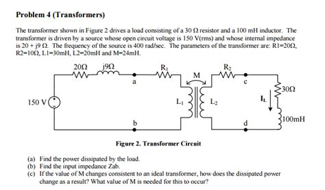 non ideal inductor impedance the transformer shown in figure 2 drives a load co chegg