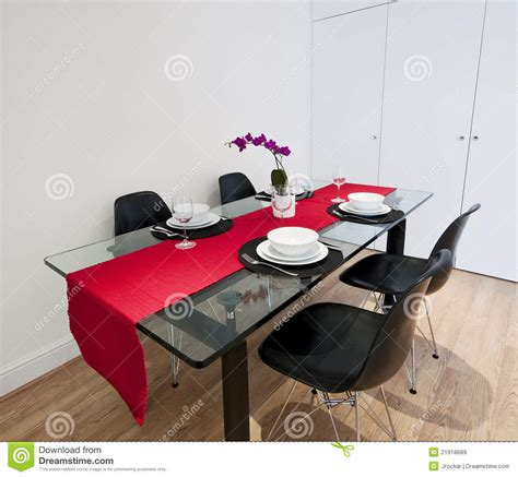 Round Dining Room Table Set dining table with red cloth royalty free stock images