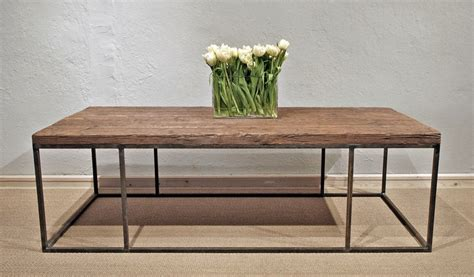 wood plank coffee table with steel frame omero home