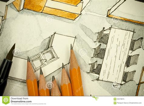 watercolor and ink interior diagram stock illustration