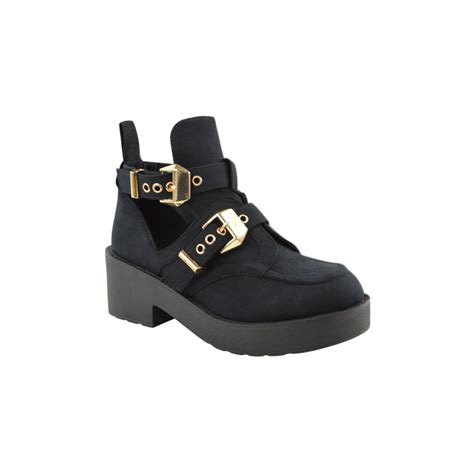 Cut Out Boots by Black Suede Gold Buckle Cut Out Boots Parisia Fashion