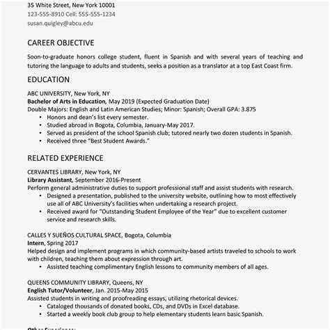 Graduate Resume by College Graduate Resume Exle And Writing Tips
