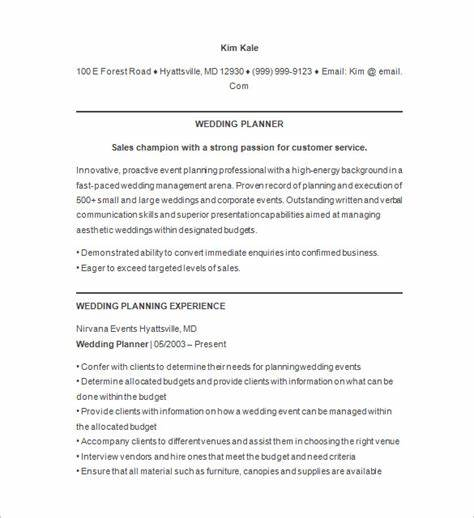 Wedding Planner Resume Sample - Event Planner Resume Template ? 11 ...
