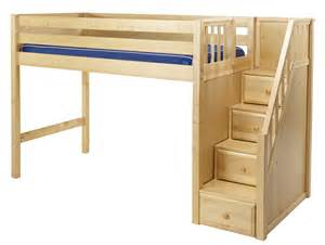 Plans For Loft Bed With Stairs by Maxtrix Mid Loft Bed W Staircase On End
